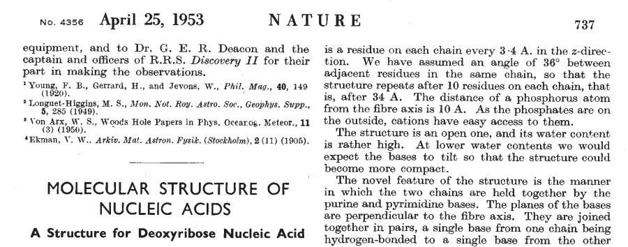 Artigo original de Watson e Crick publicado na Nature em 1953